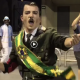 A Samba dancer in Brazil in a mock-outfit claiming Brazilian President Jair Bolsonaro is like Adolf Hitler (photo credit: screenshot)